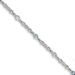 Aquamarine & Diamond Bracelet in 5.19 gr. 925 Sterling Silver 1.14 ct Gemstone