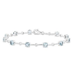 Aquamarine & Diamond Bracelet in 3.32 gr. 925 Sterling Silver 3.2 ct Gemstone