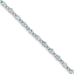 Aquamarine & Diamond Bracelet in 4.69 gr. 925 Sterling Silver 2.24 ct Gemstone