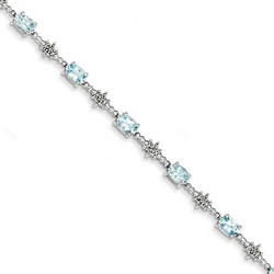 Aquamarine & Diamond Bracelet in 5.8 gr. 925 Sterling Silver 2.9 ct Gemstone