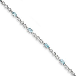 Aquamarine & Diamond Bracelet in 4.3 gr. 925 Sterling Silver 0.14 ct Gemstone