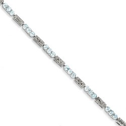 Aquamarine & Diamond Bracelet in 5.59 gr. 925 Sterling Silver 2.45 ct Gemstone