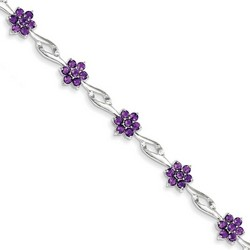 Amethyst Bracelet in 5.59 gr. 925 Sterling Silver 4.07 ct Gemstone
