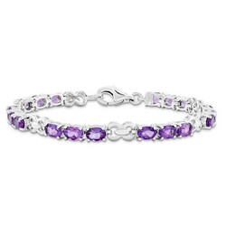 Amethyst Bracelet in 10.3 gr. 925 Sterling Silver 7.36 ct Gemstone