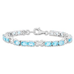 Blue Topaz Bracelet in 10.3 gr. 925 Sterling Silver 9.32 ct Gemstone