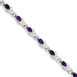 Amethyst Bracelet in 14.39 gr. 925 Sterling Silver 3.5 ct Gemstone