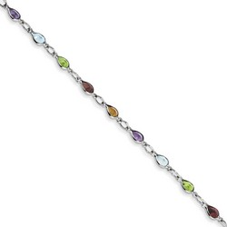 Blue Topaz & Peridot Bracelet in 1.5 gr. 925 Sterling Silver 2.6 ct Gemstone