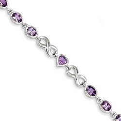 Amethyst Bracelet in 11.97 gr. 925 Sterling Silver 4.86 ct Gemstone
