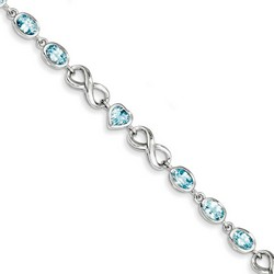 Blue Topaz Bracelet in 12.02 gr. 925 Sterling Silver 5.93 ct Gemstone