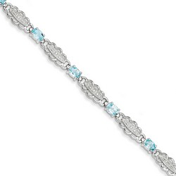 Aquamarine & Diamond Bracelet in 10.56 gr. 925 Sterling Silver 4.4 ct Gemstone