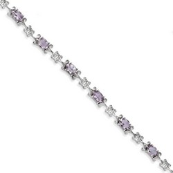 Amethyst Bracelet in 9.77 gr. 925 Sterling Silver 6.12 ct Gemstone