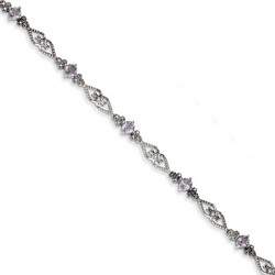 Amethyst & Diamond Bracelet in 6.63 gr. 925 Sterling Silver 1.54 ct Gemstone