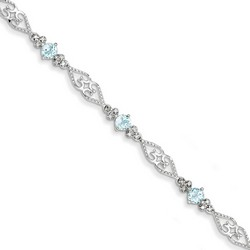 Aquamarine & Diamond Bracelet in 6.61 gr. 925 Sterling Silver 1.75 ct Gemstone