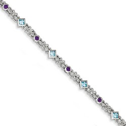 Amethyst & Blue Topaz Bracelet in 8.88 gr. 925 Sterling Silver 1.68 ct Gemstone