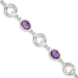 Amethyst Bracelet in 7.8 gr. 925 Sterling Silver 8.72 ct Gemstone