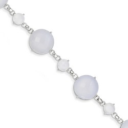 Blue Chacedony Bracelet in 5.69 gr. 925 Sterling Silver 39.5 ct Gemstone