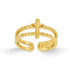 14k Yellow Gold Polished Cross Adjustable Toe Ring