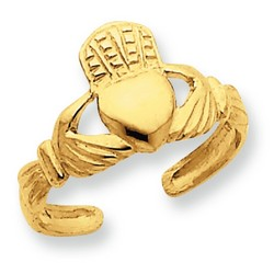 14k Yellow Gold Claddagh Adjustable Toe Ring