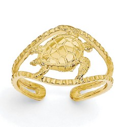 14k Yellow Gold Sea Turtle Adjustable Toe Ring