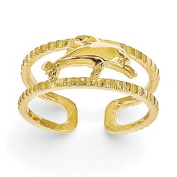 14k Yellow Gold Solid Dolphin Adjustable Toe Ring With Ribbed Band