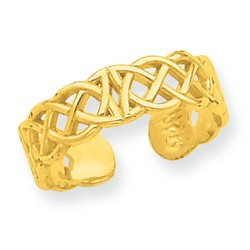 14k Yellow Gold Polished Small Celtic Knot Adjustable Toe Ring