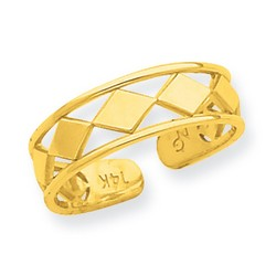 14k Yellow Gold Large Diamond Shapes Adjustable Toe Ring