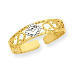 14k Yellow Gold Diamond-Cut Scrolled Band Adjustable Toe Ring