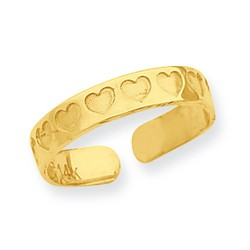 14k Yellow Gold Recessed Dimpled Hearts Adjustable Toe Ring