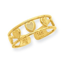 14k Yellow Gold Floating Hearts With Channels Adjustable Toe Ring