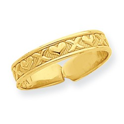 14k Yellow Gold Hearts And X's Carved Style Adjustable Toe Ring