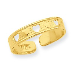 14k Yellow Gold Alternating Solid And Open Hearts Toe Ring On Dimpled Band