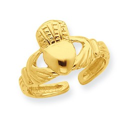 14k Yellow Gold Solid Polished Claddagh Adjustable Toe Ring