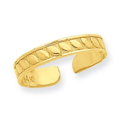14k Yellow Gold Carved Look Leaf Design Adjustable Toe Ring