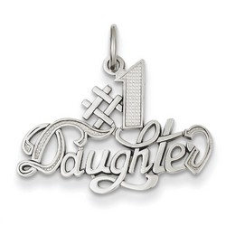 14k White Gold #1 Daughter Charm 16x24 mm 1.32 gr *** Made in USA