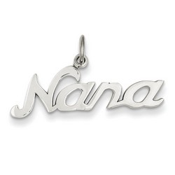 14k White Gold Nana Charm 8x27 mm 1.08 gr *** Made in USA