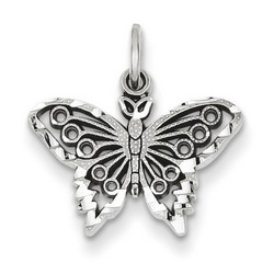 14k White Gold Butterfly Charm 12x12 mm 1.01 gr *** Made in USA