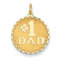 14k Yellow Gold #1 Dad Charm 18x19 mm 1 gr *** Made in USA