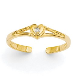 14k Yellow Gold .01ct Diamond Heart Adjustable Toe Ring