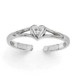 14k White Gold .01ct Diamond Heart Adjustable Toe Ring With Open Band