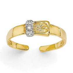 14k Yellow Gold .01ct Diamond Buckle Adjustable Toe Ring