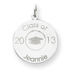 14k White Gold Personalized Graduation Charm 20x20 mm 1.25 gr *** Made in USA