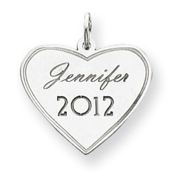 14k White Gold Personalized Graduation Charm 18x22 mm 1 gr *** Made in USA