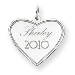 14k White Gold Personalized Graduation Charm 18x21 mm 1.11 gr *** Made in USA