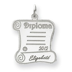 14k White Gold Personalized Graduation Charm 20x20 mm 1.37 gr *** Made in USA