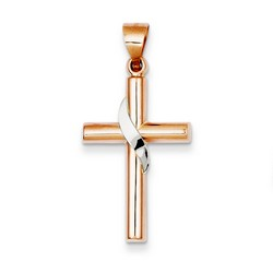 14k Two-Tone Gold Latin Cross Pendant 26 x 16 mm *** MADE IN USA