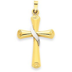 14k Two-Tone Gold Latin Cross Pendant 28 x 20 mm