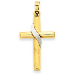 14k Two-Tone Gold Latin Cross Charm 26 x 17 mm *** MADE IN USA