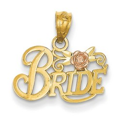 14k Two-tone Gold Bride Pendant 10x18 mm 0.6 gr