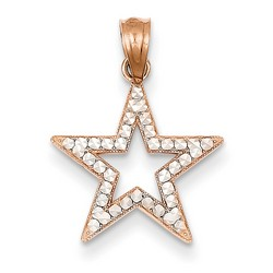 14k Rose Gold Diamond Cut Star Pendant 15x15 mm 0.62 gr